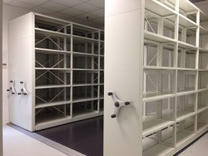 Hand Cranked Mechanical Mobile Shelving