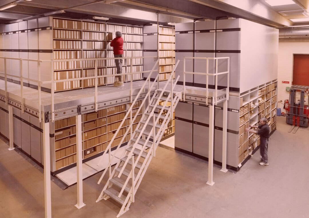 double storage space shelving system